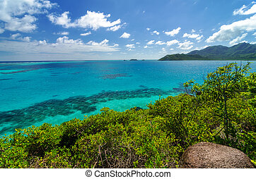 Blue Sea and Green Island - Landscape view of turquoise...