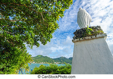 Tropical Statue of Mary - Statue of the Virgin Mary on San...