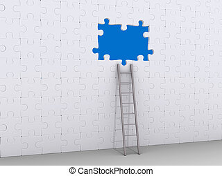 Ladder leaning on puzzle wall with hole