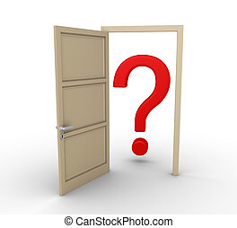 Opened door leads to question mark - 3d door is open and a...