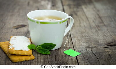 Biscuits with fresh mint tea