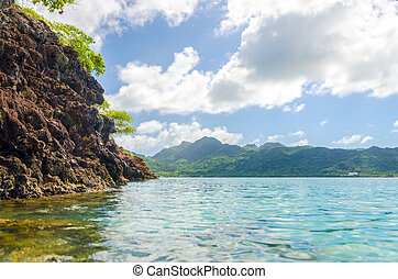 Green Island Landscape - View of a lush green tropical...