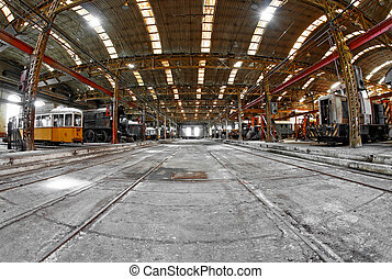 Industrial building interior with frames