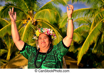 Mature Polynesian Pacific Island Woman - Portrait of happy...