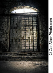 Closed Industrial door closeup photo - Industrial door...