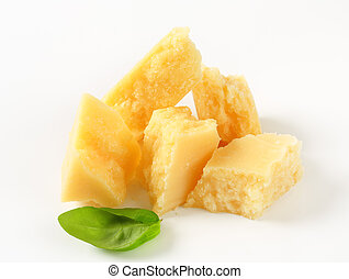 Parmesan cheese - Pieces of Parmesan cheese - studio shot