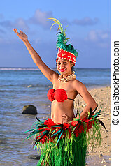 Young Polynesian Pacific Island Tahitian Woman Dancer