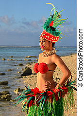 Young Polynesian Pacific Island Tahitian Woman Dancer -...