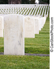 Unmarked White Marble Stone Military Headstones