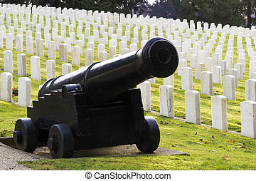 Large Military Cannon Stands Enlisted Men Cemetery Headstones