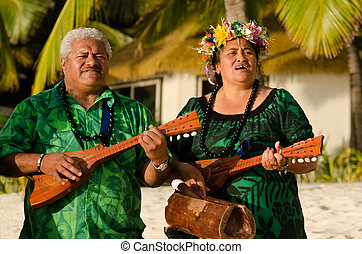 Polynesian Pacific Island Tahitian Music - Portrait of two...