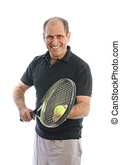 happy middle age man playing tennis - happy senior middle...