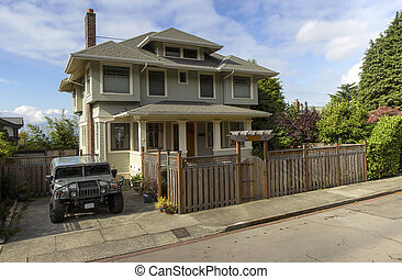 Panorama of a house and vehicle in Seattle WA.