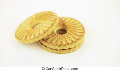 Cookies rotating on white  background.