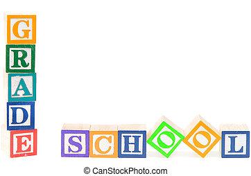 Baby blocks spelling grade school