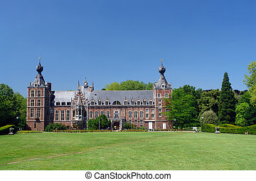 Chateau Arenbergh, Belgium - Frontal view of the facade of...