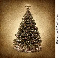 viejo, formado, navidad, árbol