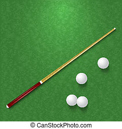 Cue and balls on the pool table