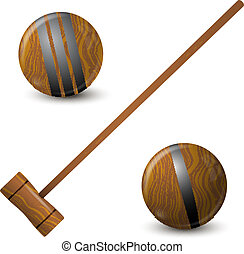 Wooden hammer and croquet balls
