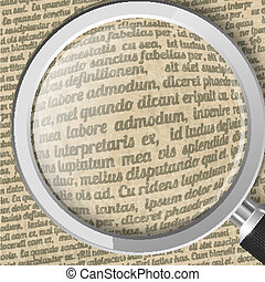 Magnifying glass and old sheet of paper with text