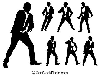 Man in jacket - Vector drawing of a dancing man in a jacket