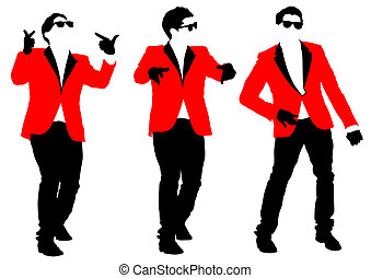 Red jacket - Vector drawing of a dancing man in a jacket