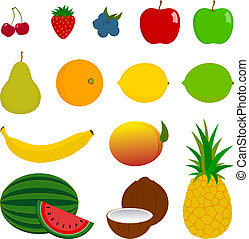 14 Fresh Fruit Icons - A vector illustration of 14 various...