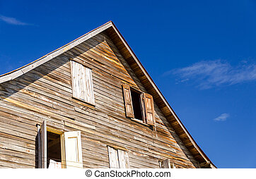 Old Weathered Wooden Building - Old dilapidated wooden...