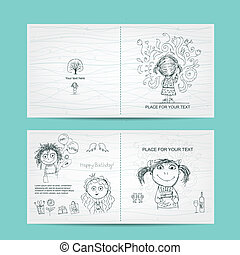 lindo, Bosquejo, niñas, cumpleaños, diseño, plantilla, su, tarjeta