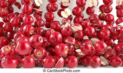 Red Apples falling down with slow m