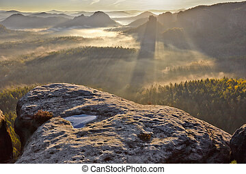sunrise from Kleiner Winterberg, Bohemian Switzerland -...