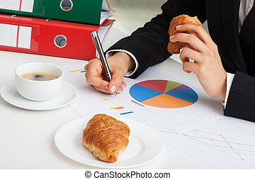 Coffee at office desk - Coffee and croissant at office desk...