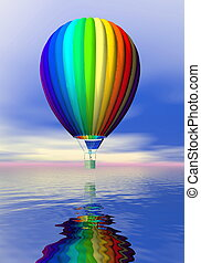 Colorful hot air balloon - 3D render - One colorful hot air...