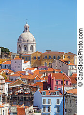 Lisbon, view of Alfams region and Santa Engrassiyas Pantheon...