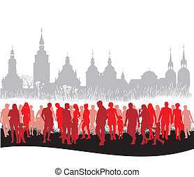 Group of people walking - vector illustration of the group...
