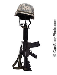 rifle with helmet - assault rifle with helmet on white...