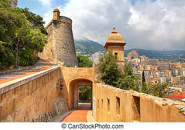 Medieval fortification and view of Monte Carlo.