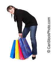 shopping - attractive brunette woman with shopping bags