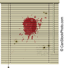 crime blinds - new isolated jalousie icon with blood stains...