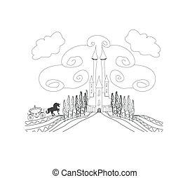 carruaje, caballo, silueta,  medieval, castillo