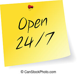 Non Stop Store Open Schedule - Yellow Sticky Note With Non...