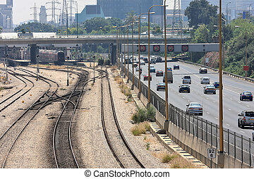 Railways and highway in Tel Aviv, Israel.