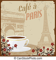 French coffee vintage poster - Retro French coffee vintage...