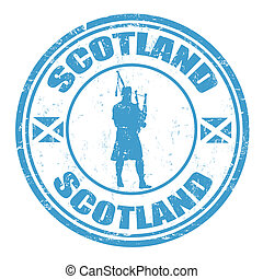 Scotland stamp - Blue grunge rubber stamp with man...