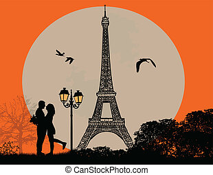 Lovers in Paris - Lovers in Paris on sunset background,...