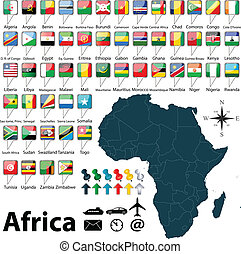 Map of Africa - Vector of Africa set with buttons and flags...