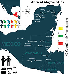 Map of the Mayan cities - Vector map of the largest Mayan...