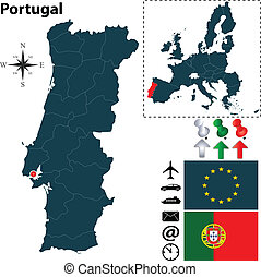 Map of Portugal with European Union