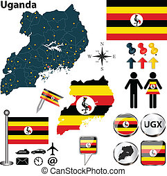 Map of Uganda - Vector of Uganda set with detailed country...