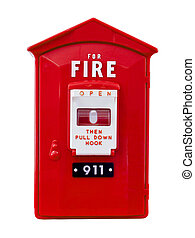fire alarm box isolated over a white background with a...